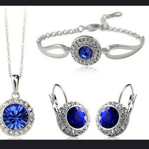 Jewelry - Brand New blue 3pc crystal bridal jewelry set